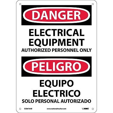 Danger, Electrical Equipment Authorized Personnel Only, Bilingual, 14X10, .040 Aluminum