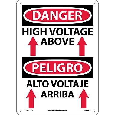 Danger, High Voltage Above (Graphic) Bilingual, 14X10, .040 Aluminum