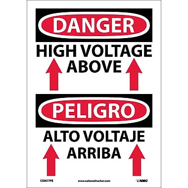 Danger, High Voltage Above (Graphic) Bilingual, 14X10, Adhesive Vinyl