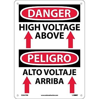 Danger, High Voltage Above (Graphic) Bilingual, 14X10, Rigid Plastic