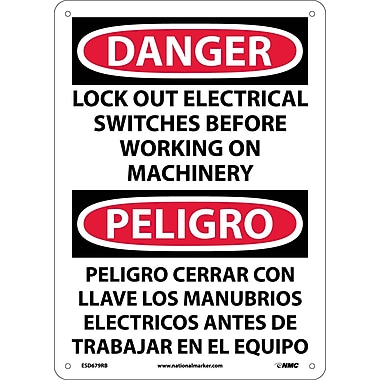 Danger, Lock Out Electrical Switches Before Working On Machinery, Bilingual, 14X10, Rigid Plastic