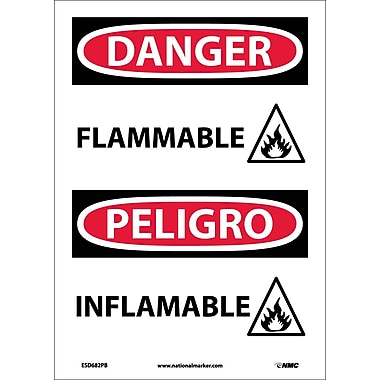 Danger, Flammable (Graphic), Bilingual, 14X10, Adhesive Vinyl