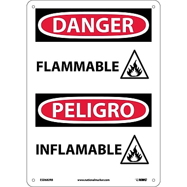 Danger, Flammable (Graphic), Bilingual, 14X10, Rigid Plastic
