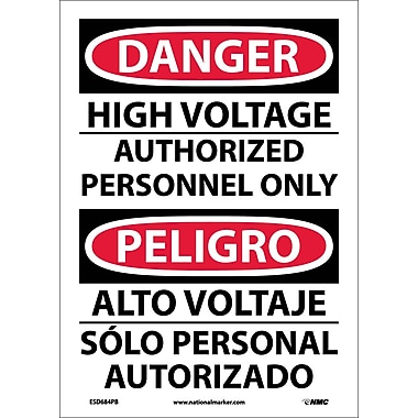 Danger, High Voltage Authorized Personnel Only, Bilingual, 14X10, Adhesive Vinyl