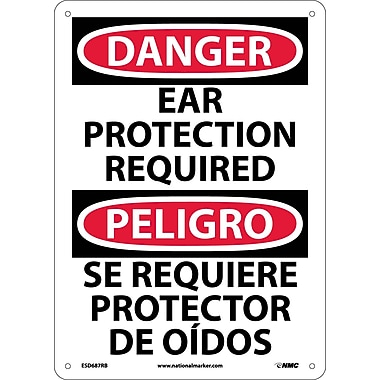 Danger, Ear Protection Required, Bilingual, 14X10, Rigid Plastic