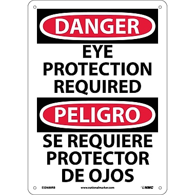 Danger, Eye Protection Required, Bilingual, 14X10, Rigid Plastic