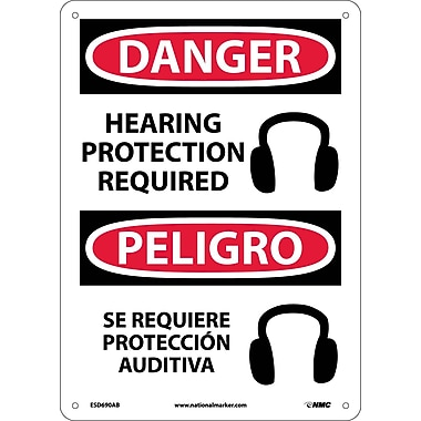 Danger, Hearing Protection Required (Graphic) Bilingual, 14X10, .040 Aluminum