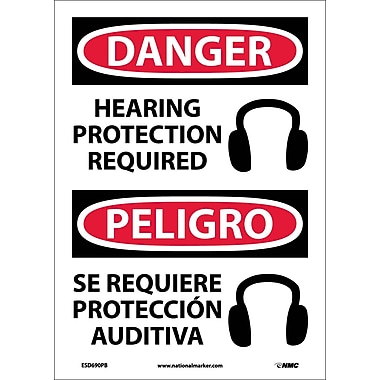 Danger, Hearing Protection Required (Graphic) Bilingual, 14X10, Adhesive Vinyl