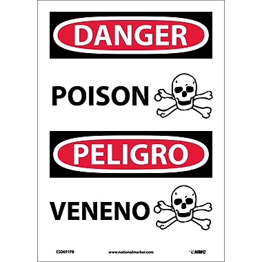 Danger, Poison (Graphic) Bilingual, 14X10, Adhesive Vinyl