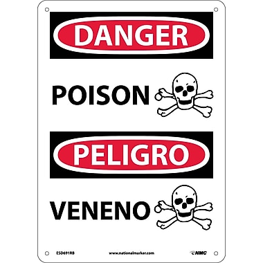Danger, Poison (Graphic) Bilingual, 14X10, Rigid Plastic