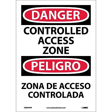 Danger, Controlled Access Zone, Bilingual, 14X10, Adhesive Vinyl