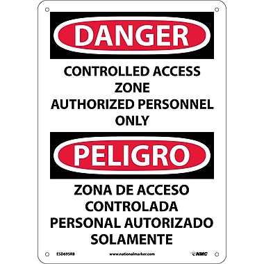 Danger, Controlled Access Zone Authorized Personnel Only, Bilingual, 14X10, Adhesive Vinyl