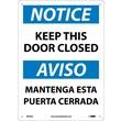 Notice, Keep This Door Closed Bilingual, 14X10, .040 Aluminum
