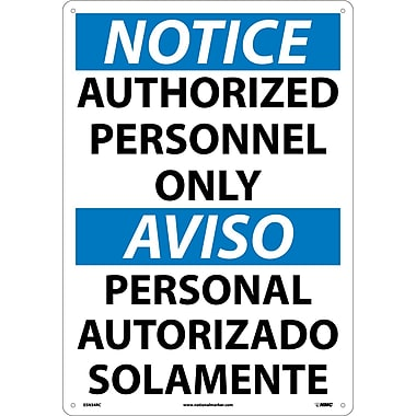 Notice, Authorized Personnel Only (Bilingual), 20X14, Rigid Plastic