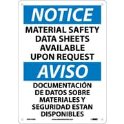 Notice, Material Safety Data Sheets Available Upon Request (Bilingual), 14X10, Rigid Plastic