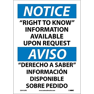 Notice, Right To Know Information Available Upon Request (Bilingual), 14X10, Adhesive Vinyl