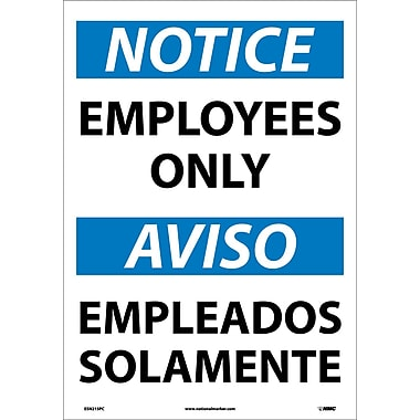 Notice, Employees Only (Bilingual), 20X14, Adhesive Vinyl
