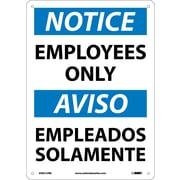 Notice, Employees Only (Bilingual), 14X10, Rigid Plastic