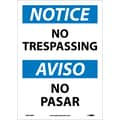 Notice, No Trespassing Bilingual, 14X10, Adhesive Vinyl