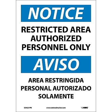 Notice, Restricted Area Authorized Personnel Only Bilingual, 14X10, Adhesive Vinyl