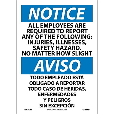 Notice, All Employees Are Required To Report..(Bilingual), 14X10, Adhesive Vinyl