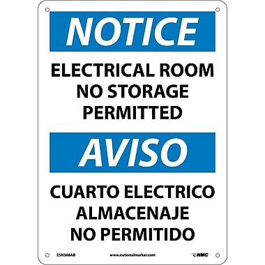 Notice, Electrical Room No Storage Permitted Bilingual, 14X10, .040 Aluminum