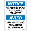 Notice, Electrical Room No Storage Permitted Bilingual, 14X10, Rigid Plastic