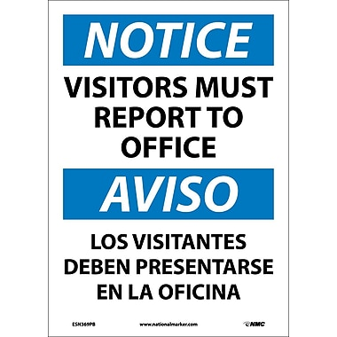 Notice, Visitors Report To Office Bilingual, 14X10, Adhesive Vinyl