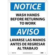 Notice, Wash Hands Before Returning To Work, Bilingual, 14X10, .040 Aluminum
