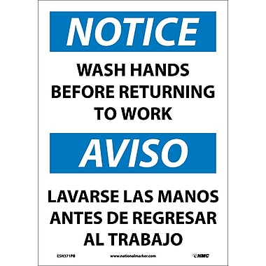 Notice, Wash Hands Before Returning To Work, Bilingual, 14X10, Adhesive Vinyl