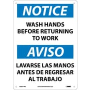 Notice, Wash Hands Before Returning To Work, Bilingual, 14X10, Rigid Plastic