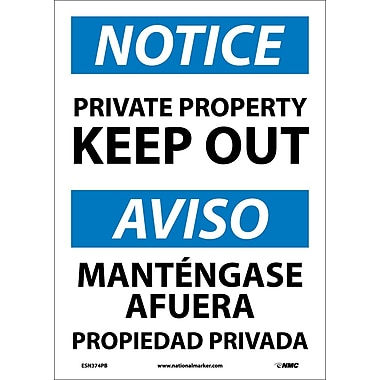 Notice, Private Property Keep Out, Bilingual, 14X10, Adhesive Vinyl
