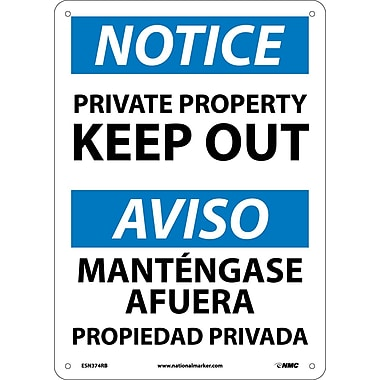 Notice, Private Property Keep Out, Bilingual, 14X10, Rigid Plastic