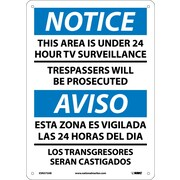Notice, This Area Is Under 24 Hour Tv Surveillance, Bilingual, 14X10, .040 Aluminum