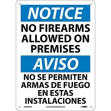 Notice, No Firearms Allowed On Premises, Bilingual, 14X10, .040 Aluminum