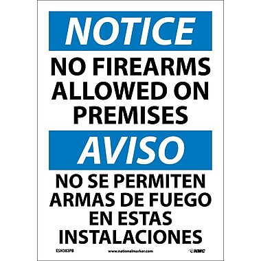 Notice, No Firearms Allowed On Premises, Bilingual, 14X10, Adhesive Vinyl