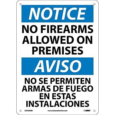 Notice, No Firearms Allowed On Premises, Bilingual, 14X10, Rigid Plastic