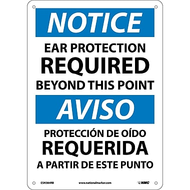 Notice, Ear Protection Required Beyond This Point, Bilingual, 14X10, Rigid Plastic