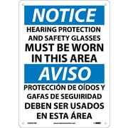 Notice, Hearing Protection And Safety Glasses Must Be Worn In This Area, Bilingual, 14X10, Rigid