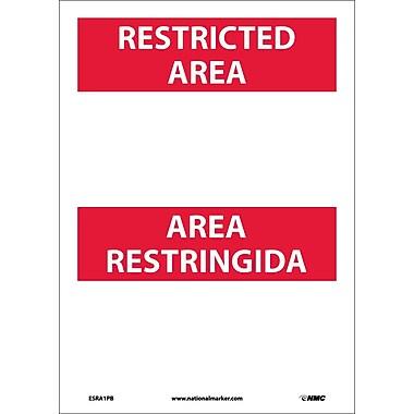 Restricted Area, Area Restringida Blank, Bilingual, 14X10, Adhesive Vinyl