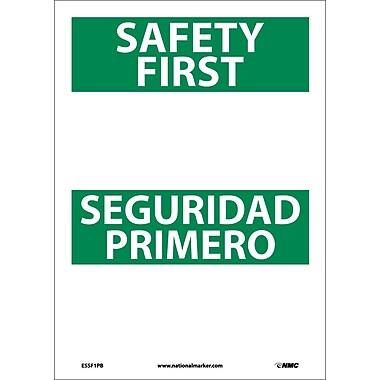 Safety First Seguridad Primero Blank, Bilingual, 14X10, Adhesive Vinyl
