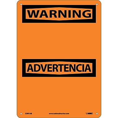 Warning Advertencia Blank, Bilingual, 14X10, .040 Aluminum