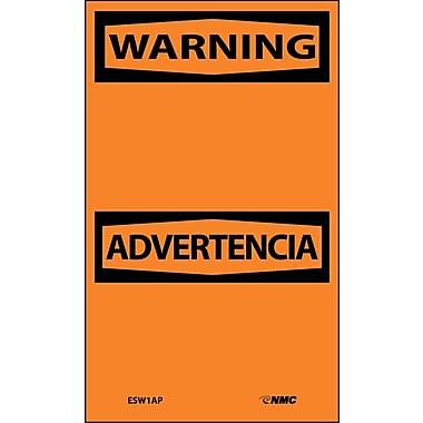Labels - Warning, Blank, Bilingual, 5X3, Adhesive Vinyl, 5/Pk