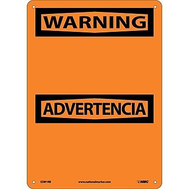 Warning Advertencia Blank, Bilingual, 14X10, Rigid Plastic