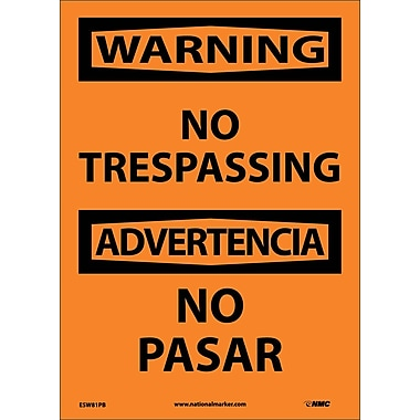 Warning, No Trespassing Bilingual, 14X10, Adhesive Vinyl
