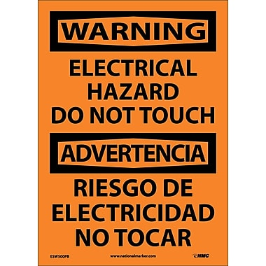 Warning, Electrical Hazard Do Not Touch Bilingual, 14X10, Adhesive Vinyl