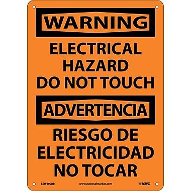 Warning, Electrical Hazard Do Not Touch Bilingual, 14X10, Rigid Plastic