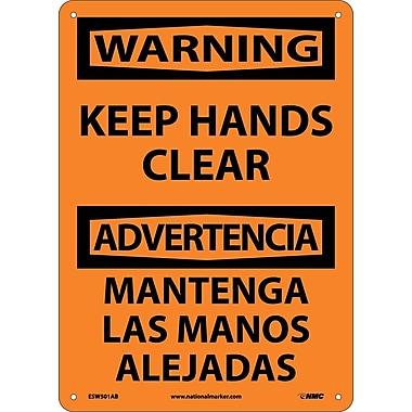 Warning, Keep Hands Clear Bilingual, 14X10, .040 Aluminum