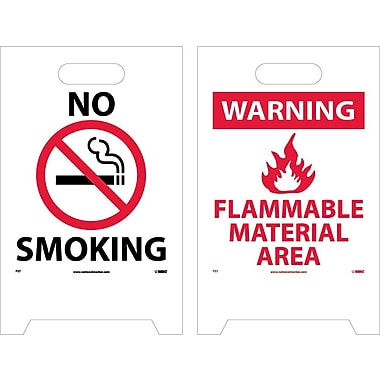 Floor Sign, Dbl Side, No Smoking Warning Flammable Material Area, 20