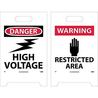 Floor Sign, Dbl Side, Danger High Voltage Warning Restricted Area, 20